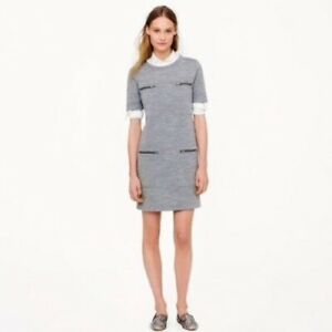 J.Crew Zip-Pocket Sz 2 Wool Blend Shift Dress Gray Work Office