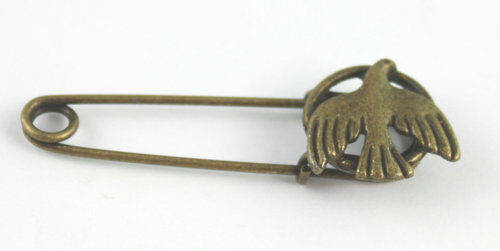 5PCS Antiqued bronze cute dove Safety Pin Brooch FC15543B