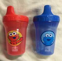 Lot Of 2 Sesame Beginnings Spill Proof Cup, 8 Ounce Each Cookie Monster & Elmo