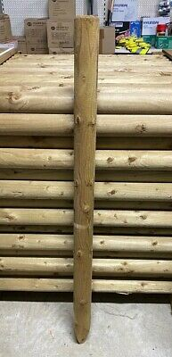 1 2m 4ft X 70mm Round Wooden Treated Fence Posts Tree Wood Ebay