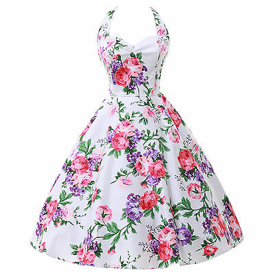 LADIES NEW VINTAGE 1950S STYLE FLORAL ROCKABILLY PARTY SWING PROM EVENING DRESS