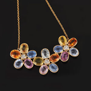 Real-7-Ct-Multi-Sapphire-Gemstone-Floral-Shape-Diamond-Necklace-18k-Yellow-Gold
