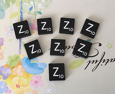 TEN Black  Scrabble Tiles Letters Letter E A to Z in Stock! Individual 10