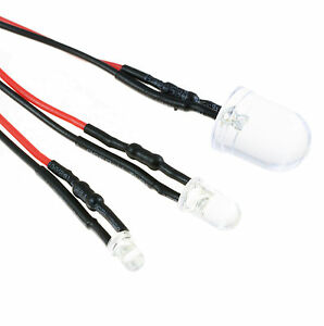 12V-Ultra-Bright-3mm-5mm-10mm-Prewired-LED-with-Black-Bezel-Holder-All-Colours