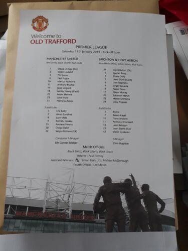 Manchester united v Brighton  Teamsheet 19.01.19