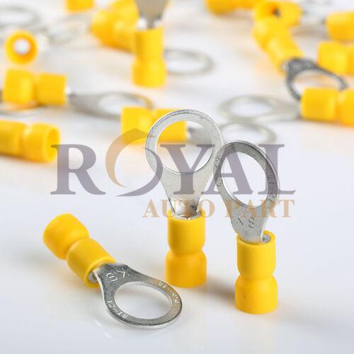 "Yellow 12-10 Gauge 3//8"" Wire Ring Vinyl Terminals Car Audio Connectors 100"