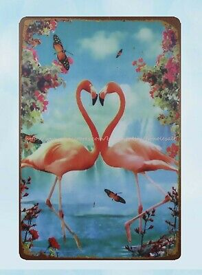 Metal Tin Sign flamingo parking only  Pub Home Vintage Retro Poster Cafe ART
