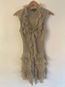 Sioni-Lace-And-Ruffle-Sleeveless-Knit-Top-Size-Large