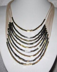 Statement-Collier-Halskette-XXL-Glitzer-beige-schwarz-gold-farben-mehrreihig