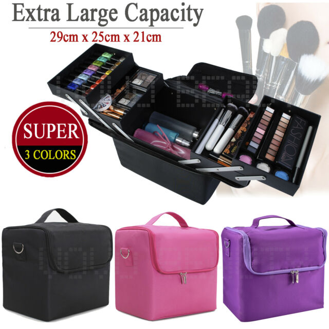 Large Portable Travel Beauty Case Cosmetic Makeup Vanity Case Nail Box Carry Bag