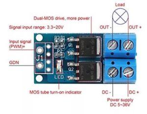 DC 5-36V 15A MOS FET Trigger Switch Drive Module PWM Regulator Control Panel