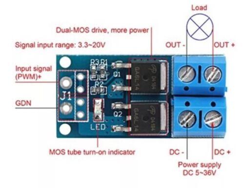 Dual MOS Tube Field Effect DC 5V-36V 15A 400W PWM Control Switch Trigger Module
