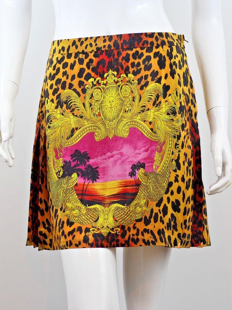 VERSACE x H&M WOMEN'S SILK LEOPARD PRINT SKIRT SIZE US6 EU36