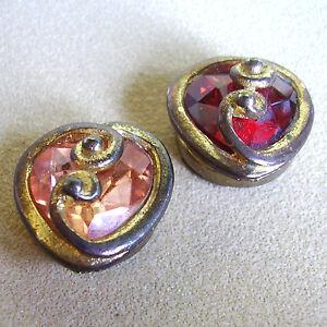 1306 / Deux Cache-boutons Metal Dore Et Verre Colore 4kpwahje-07233534-737189741