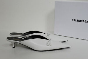 ef65364fc71 New sz 7   37.5 Balenciaga White Leather Bow Pointed Toe Mule Pump ...