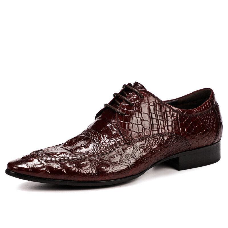 Uomini modello Crocodile britannico Pointed Genuine Scarpe Business Dress Scarpe   best-seller