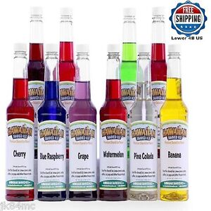 Italian Ice Flavors Snow Cone Syrup Concentrate Commercial Quality 10 Pc Variety