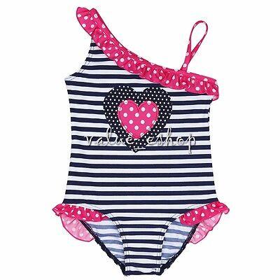 Girls Kids One Piece Striped Polka Dots Swimsuit Swimwear Swimming Costume 2-8Y