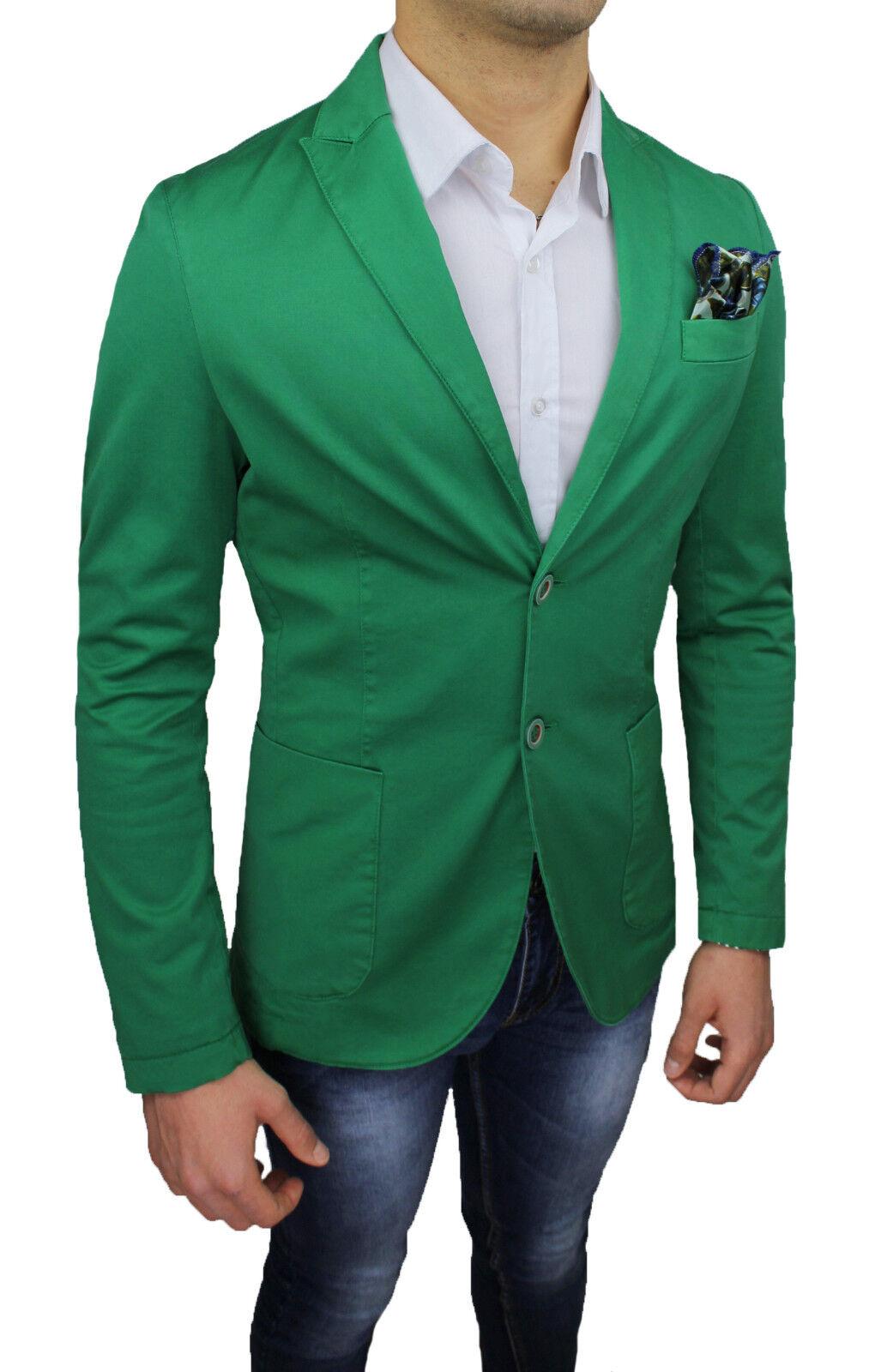 GIACCA BLAZER men A. GILLES SARTORIALE green SLIM FIT NUOVA CASUAL ELEGANTE