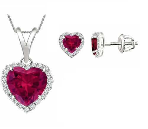 Forma de Corazón Rosa Rubí Halo Pendientes & Colgante 18 Valentín Set 14k