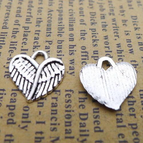 30pcs Charms Ailes Cœur Forme Tibetan Silver Beads Pendentif À faire soi-même 13*13mm
