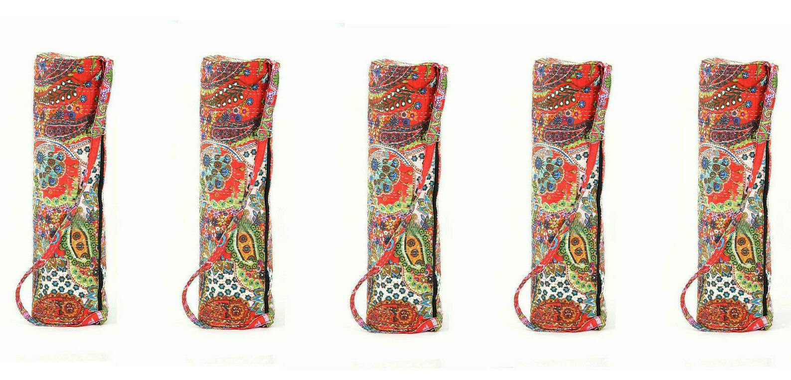 Indian Cotton Paisley Printed Hand Quilted Yoga Bag Mat Cover Gym rosso Beach Bag