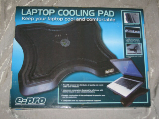 Laptop Notebook Cooling Pad USB Powered Cord Quiet Fan Black NEW!