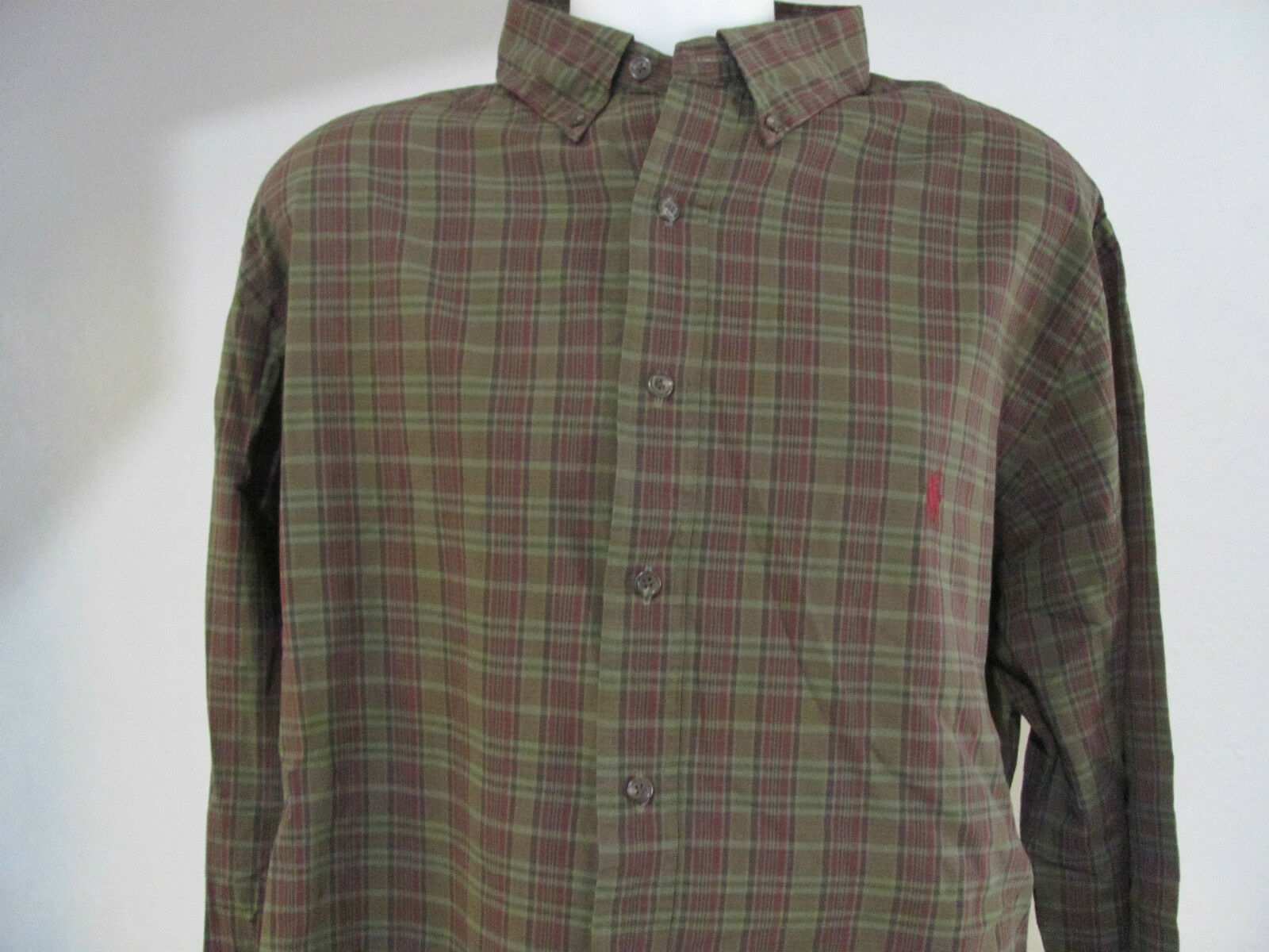 NEW Mens XLT XT Ralph Lauren POLO  Classic Fit  GREEN Multi w MAROON Pony