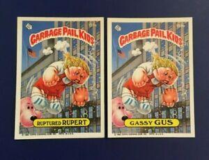 1986-Topps-199a-RUPTURED-RUPERT-amp-199b-GASSY-GUS-Lot-2-Garbage-Pail-Kids-GPK