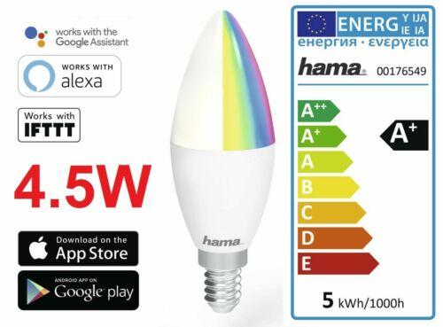 Hama E14 Wi-Fi WLAN LED-Lampe 4,5 Watt 350 Lumen RGB dimmbar Alexa Google 176549
