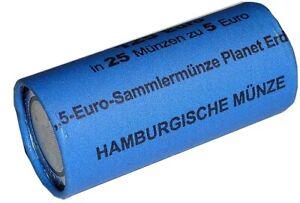 BRD-25-x-5-Euro-Bimetall-Blauer-Planet-Erde-2016-Muenzrolle-J-Hamburg-SELTEN