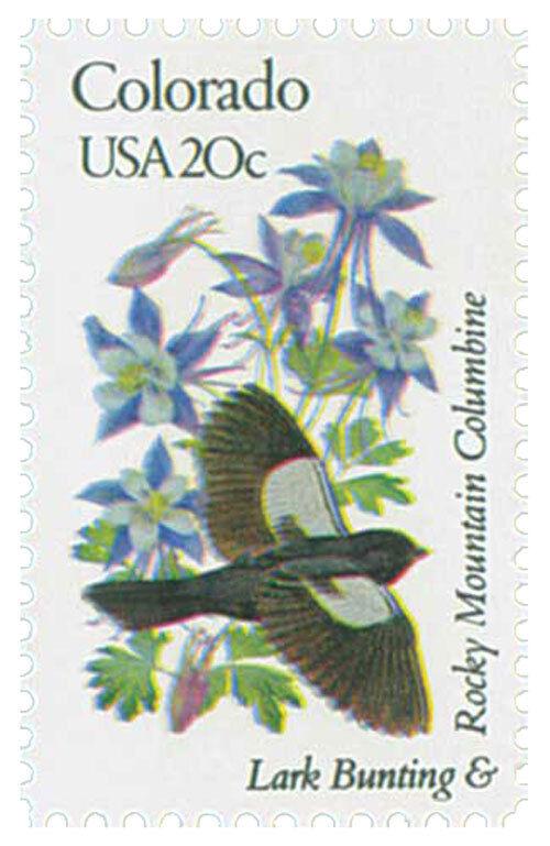 1982 20c State Birds & Flowers, Colorado, Columbine, La