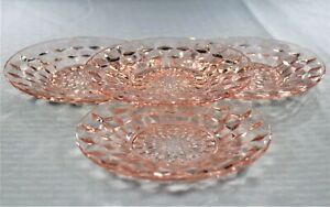 Cube-aka-Cubist-Pink-6-Inch-Sherbet-Plates-by-Jeannette-Glass-Co-set-of-4