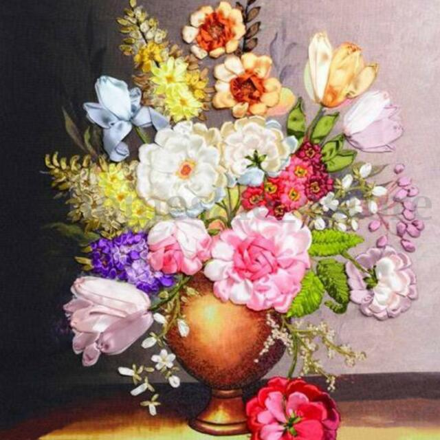 Blooming Flowers Vase Ribbon Embroidery Handmade Needlework Room
