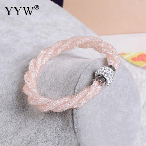 2017 New Fashion bracelets Rainbow Cadeau Cristal Avec Net Chaîne Maille Tube MAGNETI
