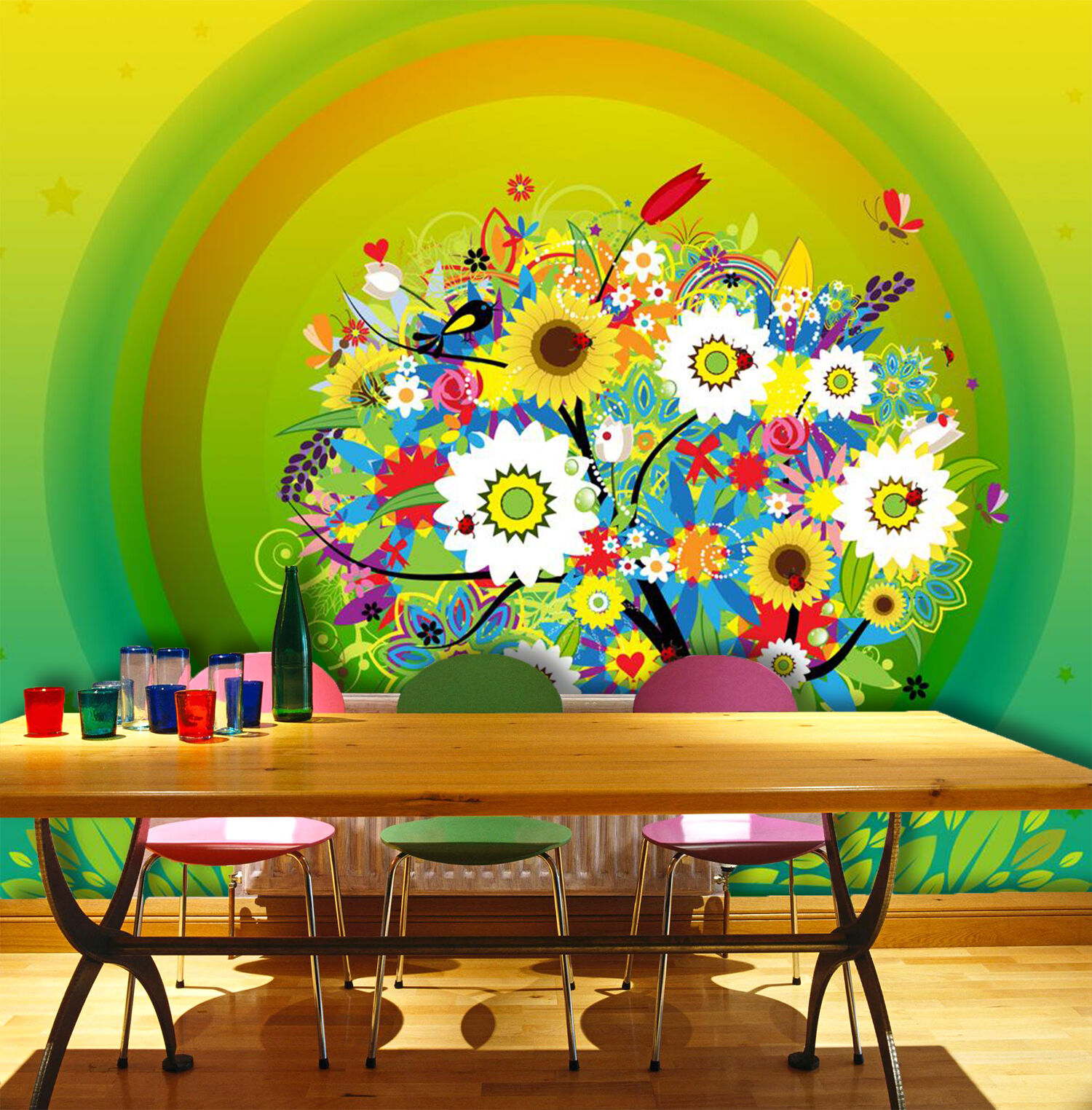 3D Flowers Tree Pattern 2719 Paper Wall Print Wall Decal Wall Deco Indoor Murals