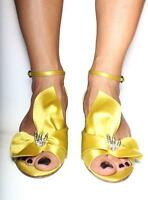 $530 Rodo Lemon Silk Open-toe Dressy Jeweled Shoes Evening Heels - Fabulous