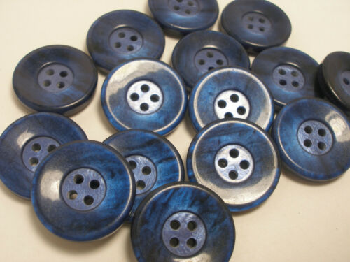 5//8  P10 13//16,11//16 New lots 12 Blue Pearly Plastic Buttons sizes 1 inch 7//8