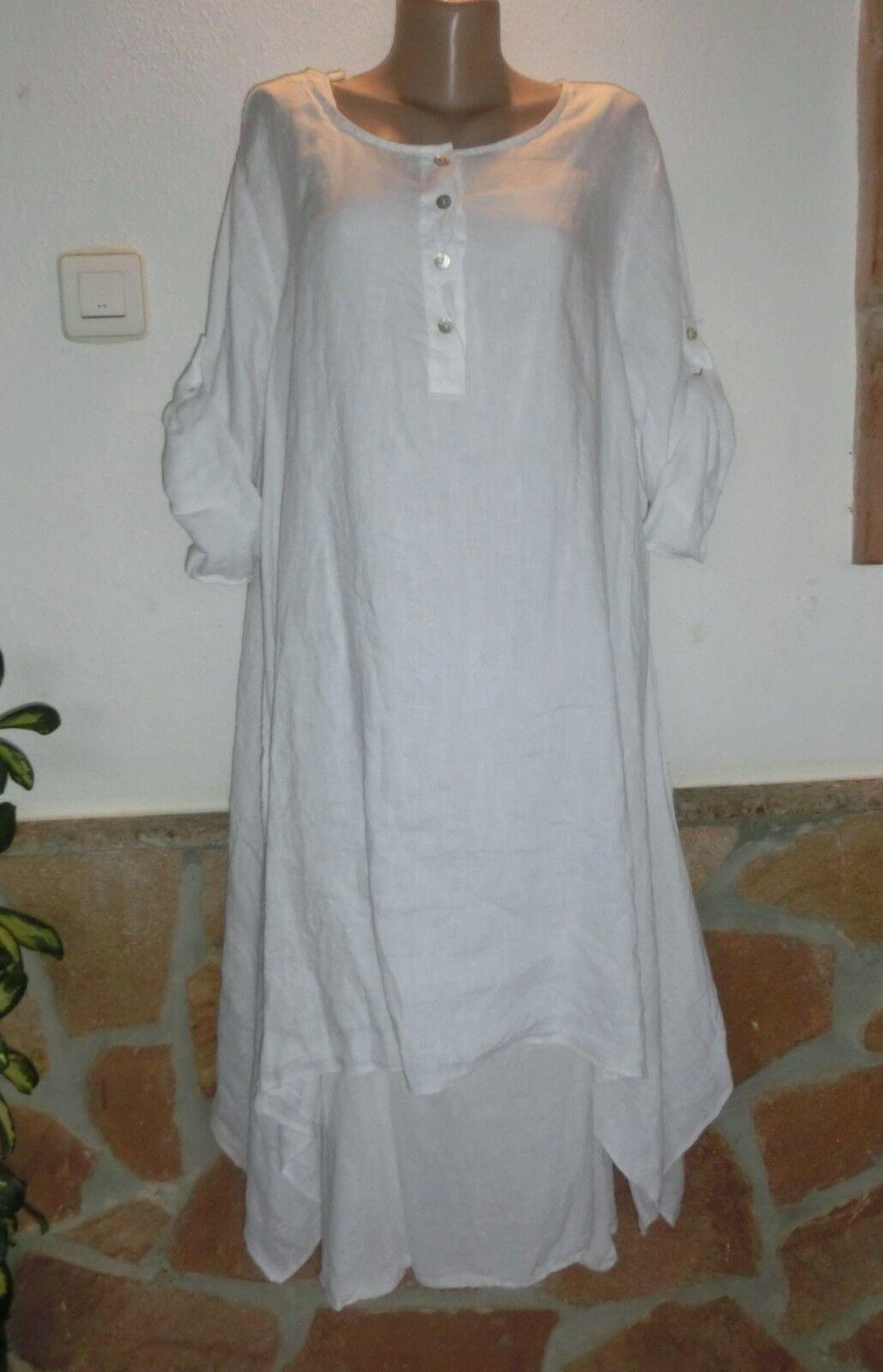 Lagenlook Tunika Kleid+Unterkleid Leinen Weiß Zipfelig  Insein EG 46-54