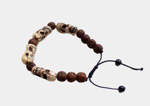 Rudrakshya Bracelet with Skull Bone Spacer