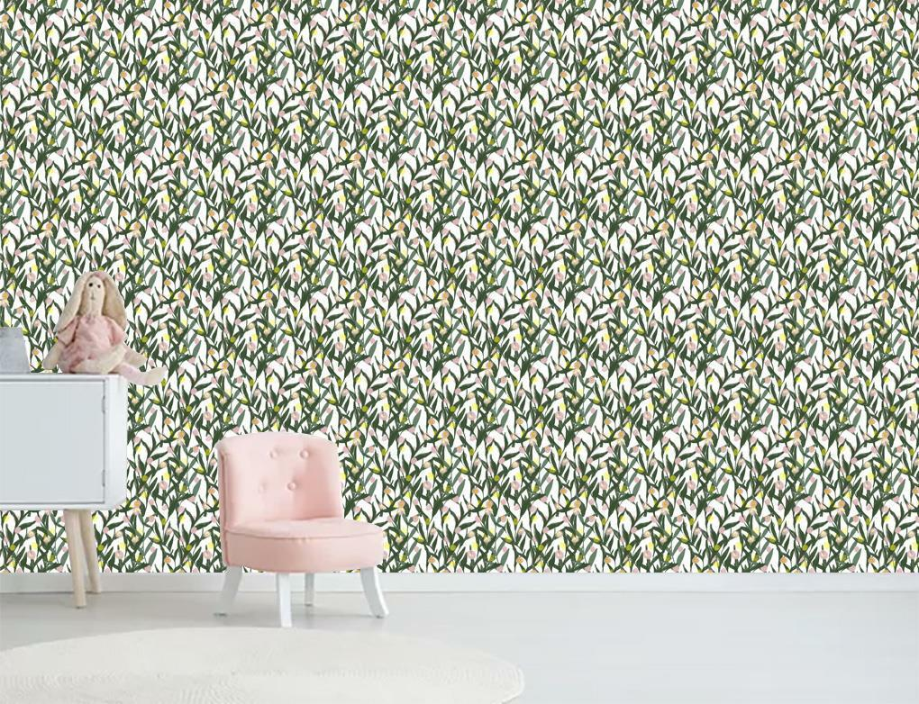 Painted Leaves Pattern Wallpaper Wall Mural Woven Self-Adhesive Decor Nature T93