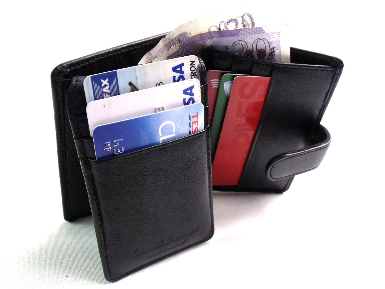 Herren Premium Qualität Super Weich Schwarz Echtleder Etui Kreditkarteninhaber