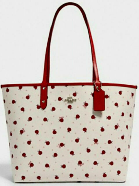 Coach Reversible City Tote Purse Red Ladybug Print For Sale Online Ebay