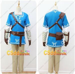 Details about The Legend of Zelda Breath of the Wild Link Cosplay Costume  blue