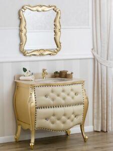 Détails sur Meuble salle de bain avec miroir Ramirez style Baroque Français  bombé feuille or