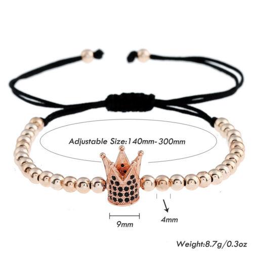 Luxury 24k Gold Plated CZ Crown 4mm Bead Braided Macrame Bracelets For Men Women