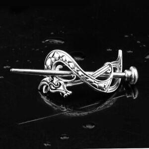 Viking-Dragon-Hair-Clip-Barrette-Silver-Celtic-Knot-Hairpin-Hair-Accessories