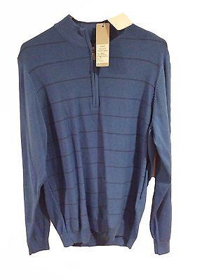 Golf Nwt Mens Ashworth Front Panel Stripe Pima Half-zip Sweater M Blue Am8083 Z83973 Sporting Goods