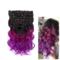Ombre Natural Black To Violet Purple Women Hair Extension 20 Inch 3 Tone 8 Clip