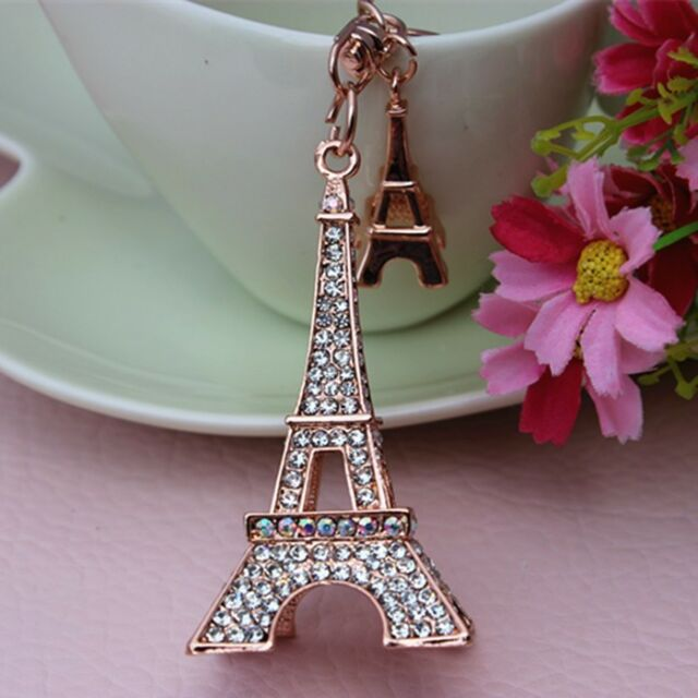 YSK87A New Full Rhinestone Eiffel Tower Car KeyChain Crystal Purse Bag Key chain